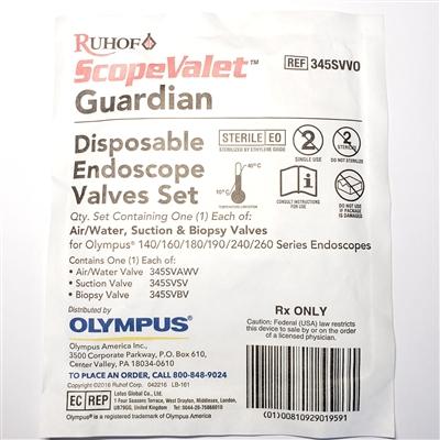 Conjunto de Válvulas Ar/Água, Sucção e Biópsia Olympus® - ORIGINAL - USO ÚNICO