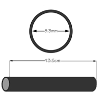 Borracha da Ponta de 8.3mm (DI) X 13.5cm para Gastroscópios c/ Diâmetro 8.5mm a 9.5mm - Viton®